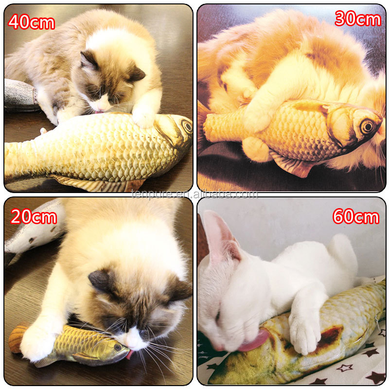 Cat Plush Toy Stuffed Fish Plush Toys for Cat Pet Kitten Playing Interactive Catnip Toy Pet Cats Scratcher Teaser Pets Cats Toys