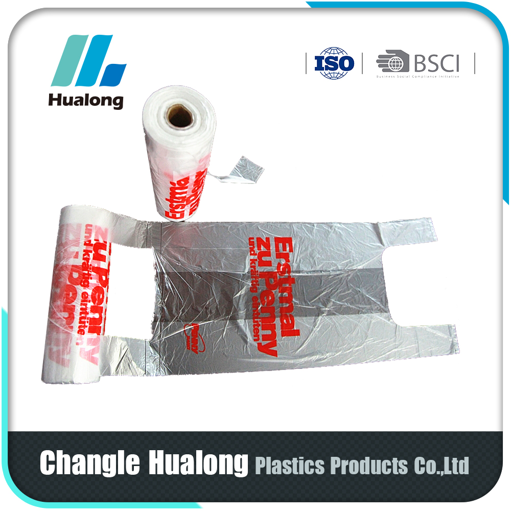 China Manufacturer Liquid Packaging Plastic T-Shirt Bag In Roll
