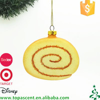 China manufacturer direct sale personalized blown glass roll cake ornaments for tree decorations
