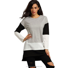 New Woman T-shirt Top Long Sleeve Tees 2016 Women T Shirt Brand Round Neck Color Block Dip Hem Cotton T-Shirts TS073