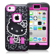 New For Apple iPhone 5 5s Cute Hard Case Hello Kitty Three in One Combo Silicone Cover