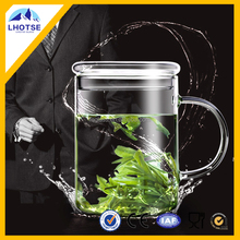 High quality borosilicate glass tea mug with lid for gift glass