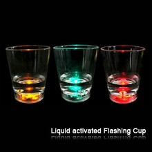 water activated small glass/LED lighted cup/bar use flashing cup