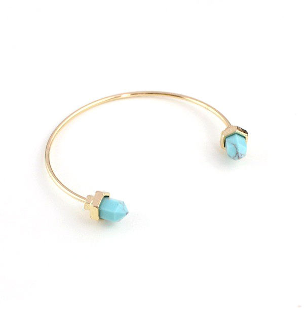 Open Natural Stone Cuff Bangle Gold Plated Geometric Hexagonal Pile Blue Turquoise Charm Bracelets&Bangles For Women or Men