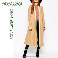 Latest Oversized Trench Pant Coat with Contrast Shawl Collar Women Picture HSc7527