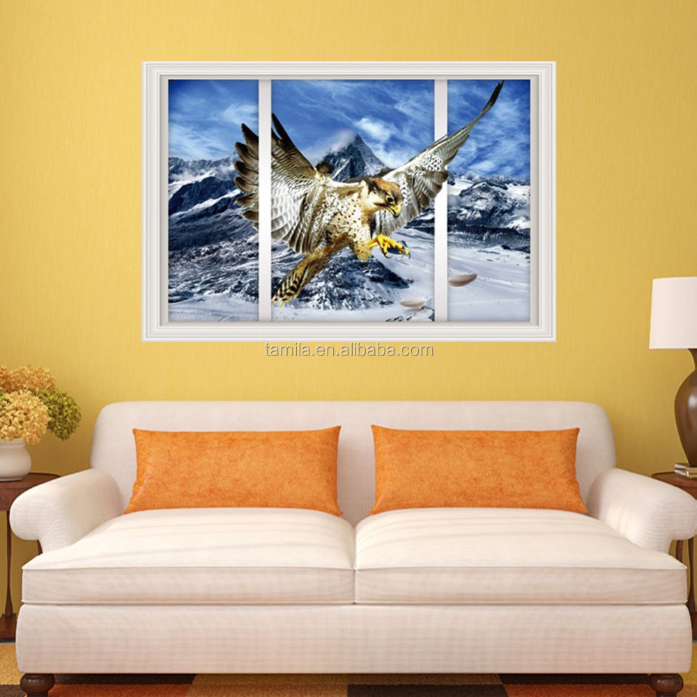 Large design eagle simulation window wall sticker for bedroom living room home children rooms decoration diy kids rooms sticker