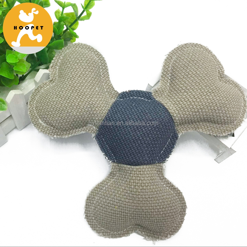Hot Sale Linen Dog Frisbee Chew Pet Plush Toy For Small And Medium Dogs
