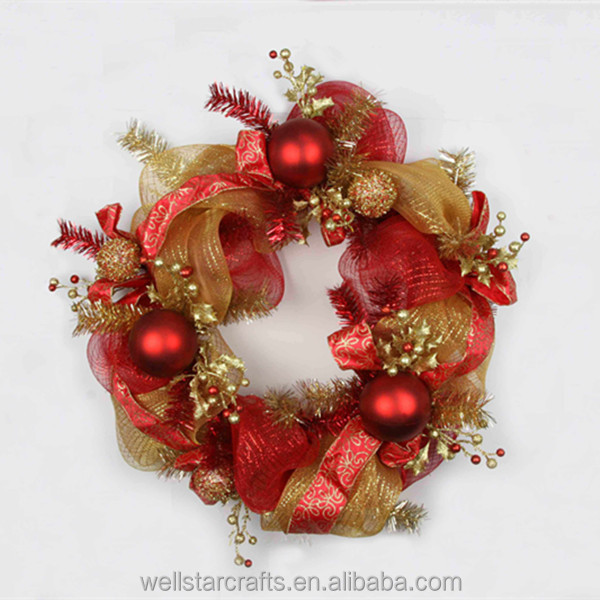 Hot new products china supplier promotional crafts felt fabric artificial christmas wreaths