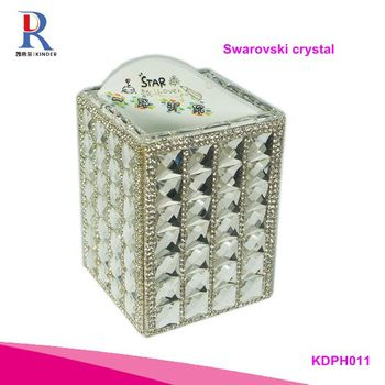 Bling sparkle diamond inlaid handmade fancy plastic square pen holder