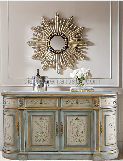 Hand Painted Glass Display Sideboard Buffet Shabby Chic
