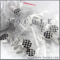 Black Paint Silver Chess Round Brass Button Covers for Men