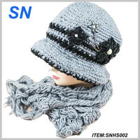 Winter fashion lady hat and scarf set