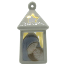 Wholesale decorative ceramic hanging religious ornaments with LED light