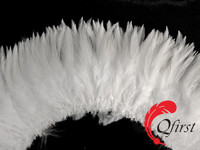Handmade plumage crafts wholesale bleached natural white rooster saddle feather strung