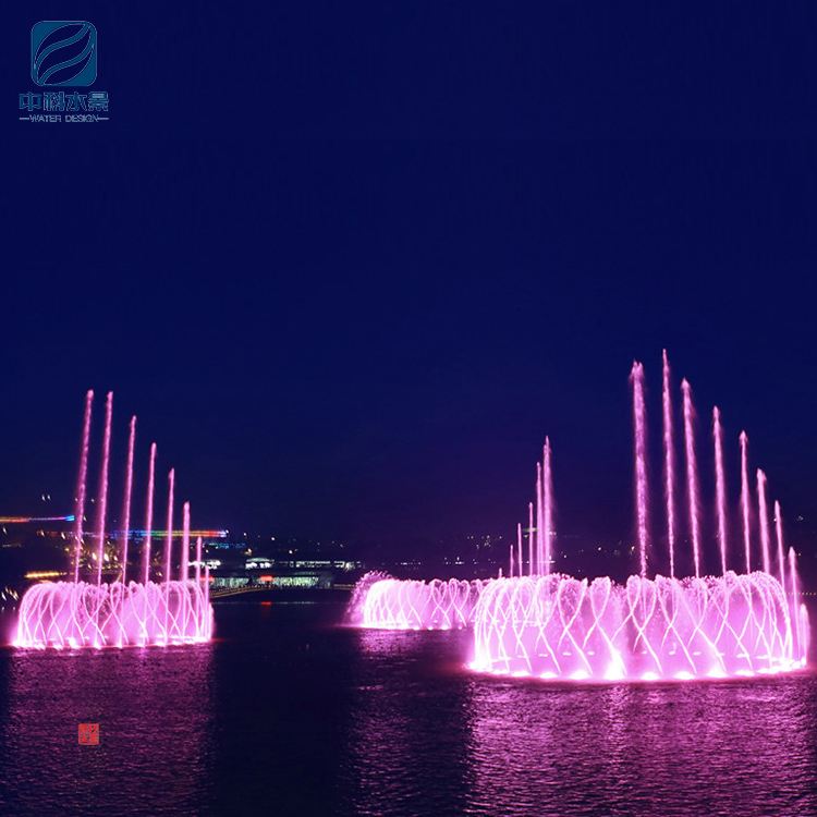 Outdoor music dancing water screen lighted water fountain for projector