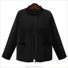 Plain Zipper College Style Space cotton Top Black Winter Woman Jacket