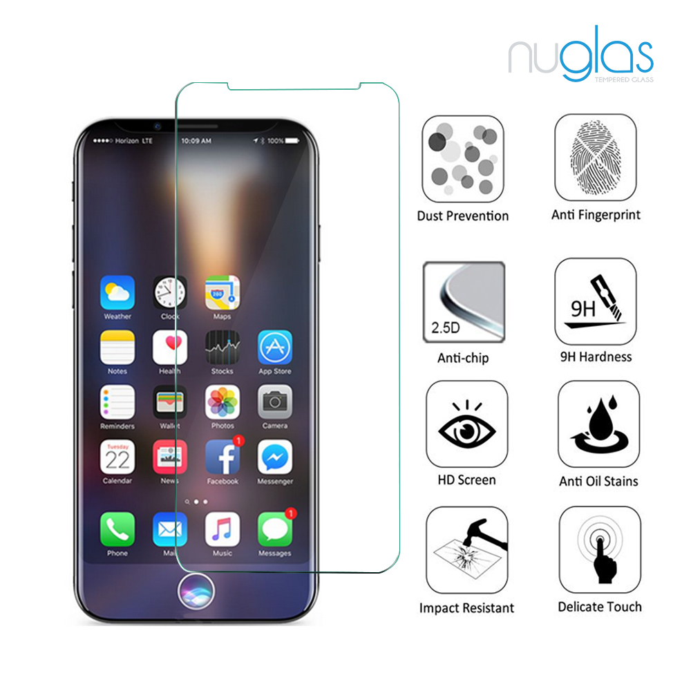 factory supply nuglas brand Ultra Clear 9H Tempered glass screen protector for iPhone 8 perfect fit screen guard
