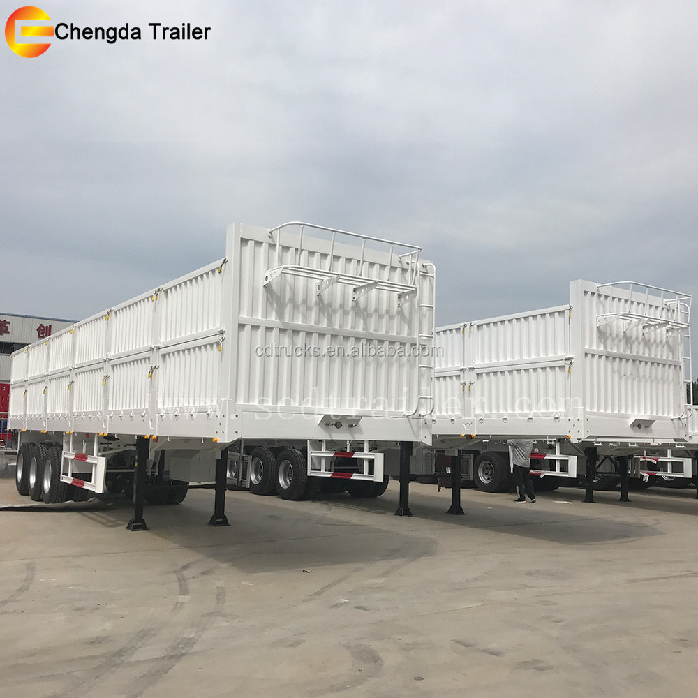 3 Axles tri-axles 40t 50t Side Wall Panel 3 doors cargo truck cargo box semi trailer