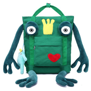 Wholesale Lightweight canvas Backpack bag Animal frog Shaped Cute funny hipster School Backpacks