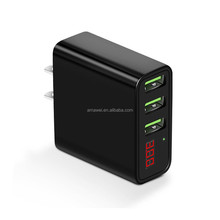 Universal 5V 3A Digital Display 3 Ports USB Wall Charger for iphone