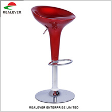 Adjustable height rolling swivel PU stainless steel bar stool