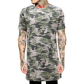 New Men Longline Hip Hop Basic Solid Color T shirt Fashion Clothing Short Sleeve T shirt Camouflage Tee