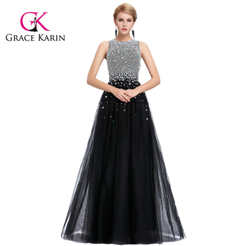 Grace Karin 2017 New Sleeveless Sleeveless Tulle Netting Long Black Puffy Beaded Prom Dresses GK000081-1