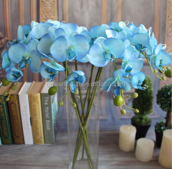 GNWFL-OK78-30-5 Blue fabric artificial flower orchid used in home decoration