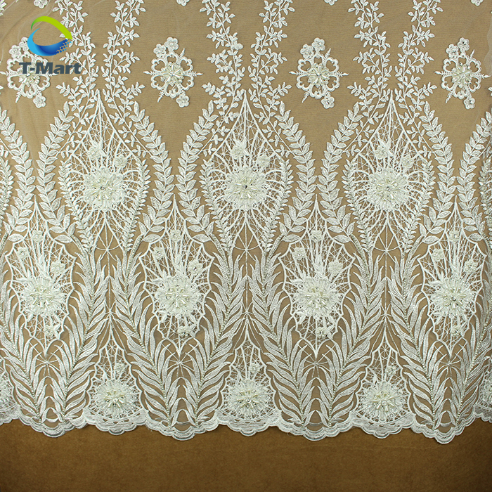 European Laces Fabric French Corded Beaded Chantilly Lace Mesh Embrodiery Lace