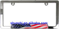 Chrome USA Flag License Plate Frame