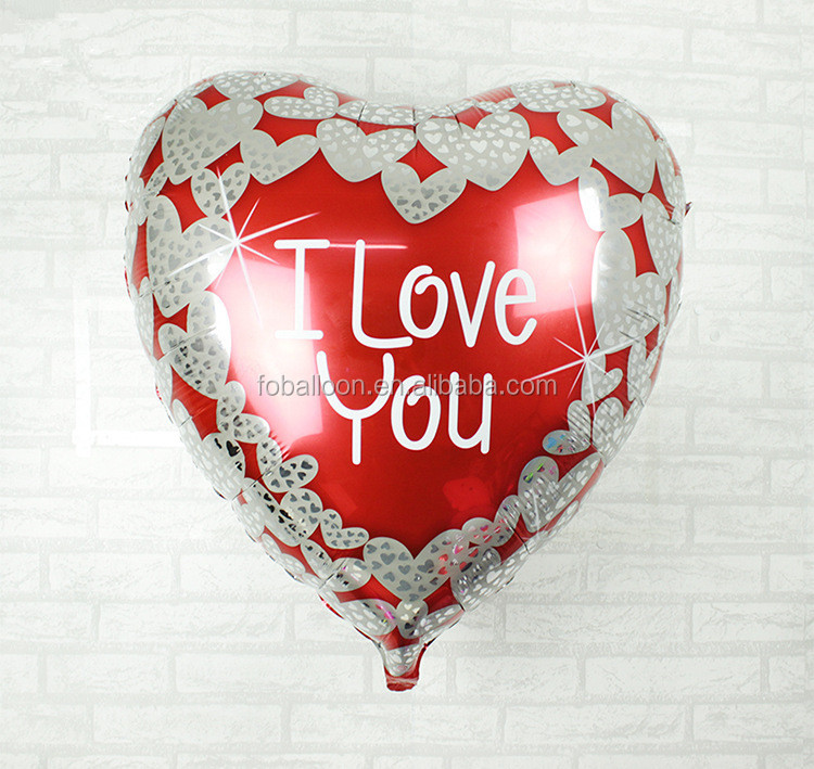 36 Inch Wholesale Big Inflatable Heart Shaped Foil Balloon 'I Love You Foil Balloon' For Valentine' Day Wedding Decoration