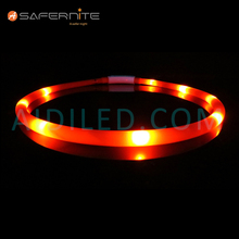 Light up Silicone Simple Design Led Flashing Dog Collar for Decoration Protection