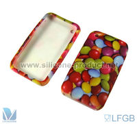 Chocolate beans color printed silicone case for iphone3G