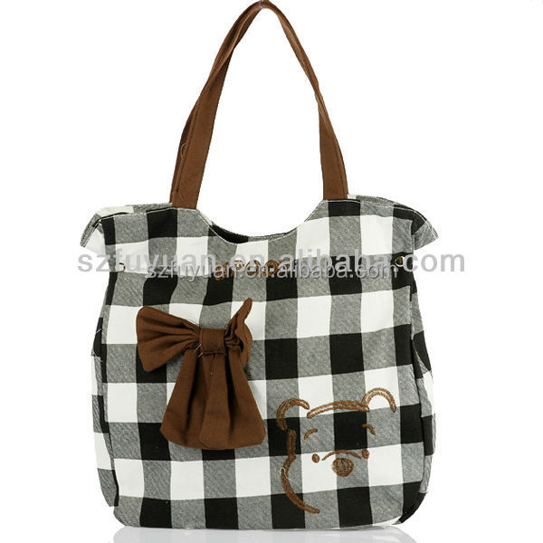 cartoon embroidered bowknot teens handbag wholesale