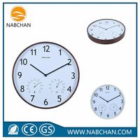 High quantity digital expensive circular wood wall clock with humidity temperature