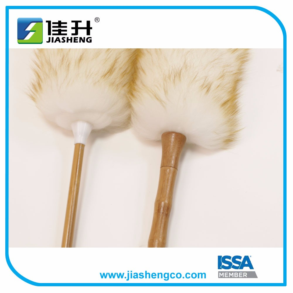lambswool duster with wood handle