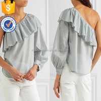 New One-Shoulder Ruffled Cotton-Voile Women Blouse OEM/ODM Women Apparel Clothing Garment Wholesaler