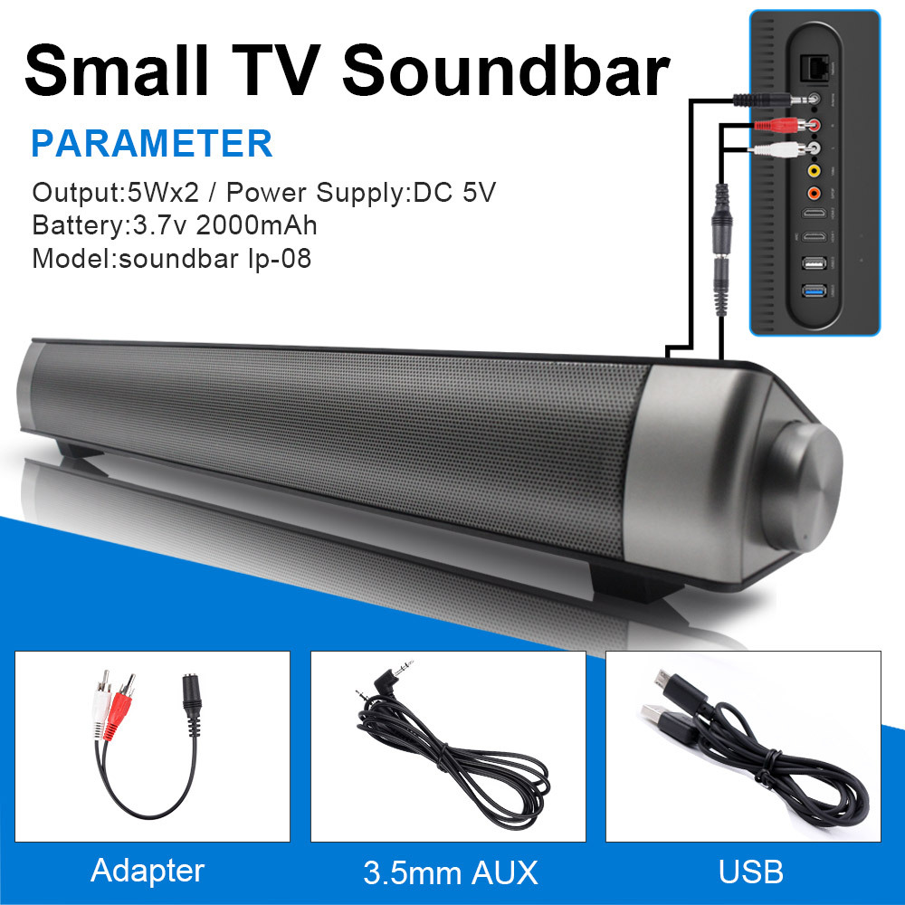 TV Sound Bar, Bluetooth Soundbar with Built-in Subwoofer, 36 inch 2.1 Channel Home Theater Speakers
