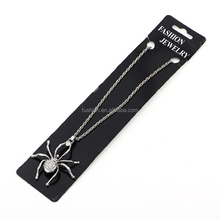Halloween wholesale latest vintage design silver color diamond spider necklace