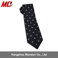 Striped Polyester School Tie With Printed Logo