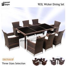 Modern style large size rattan dining table with 8 chairs