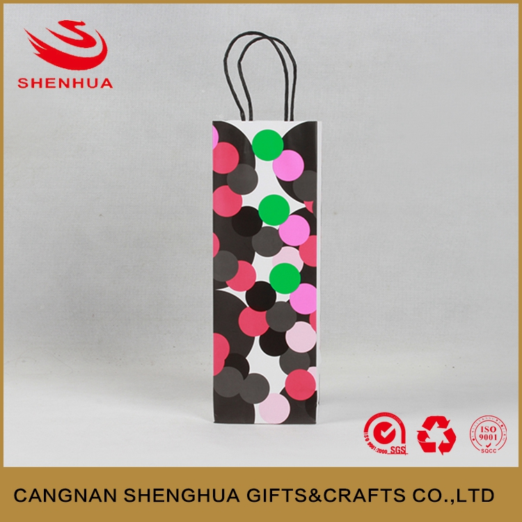New style colorful dot bottle wine kraft paper bag wholesale