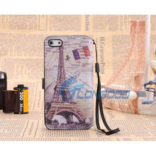 Classical Eiffel Tower Cell Phone Leather Case With Credit Card For iPhone 5G