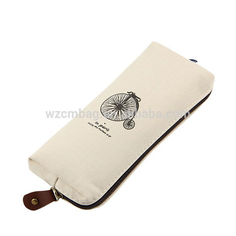 Top sale super quality white cotton canvas zipper Pencil case bag