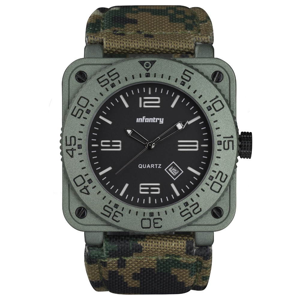 INFANTRY GENUINE CAMO NYLON Green Waterproof Tactical Military Quartz Sport Watch