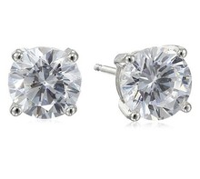 Platinum Plated Sterling Silver Round Cubic Zirconia Studs