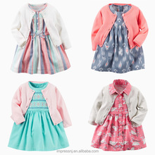 2018 Latest design Carters Baby Clothes Girl Dress Knit Cardigan and short pants 3pcs set comfortable baby wear