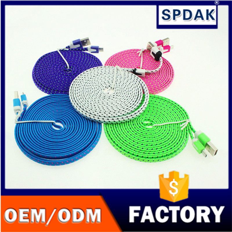 High Quality Micro USB Cable 3M/10FT Fabric Nylon Braided Flat Noodle Cord