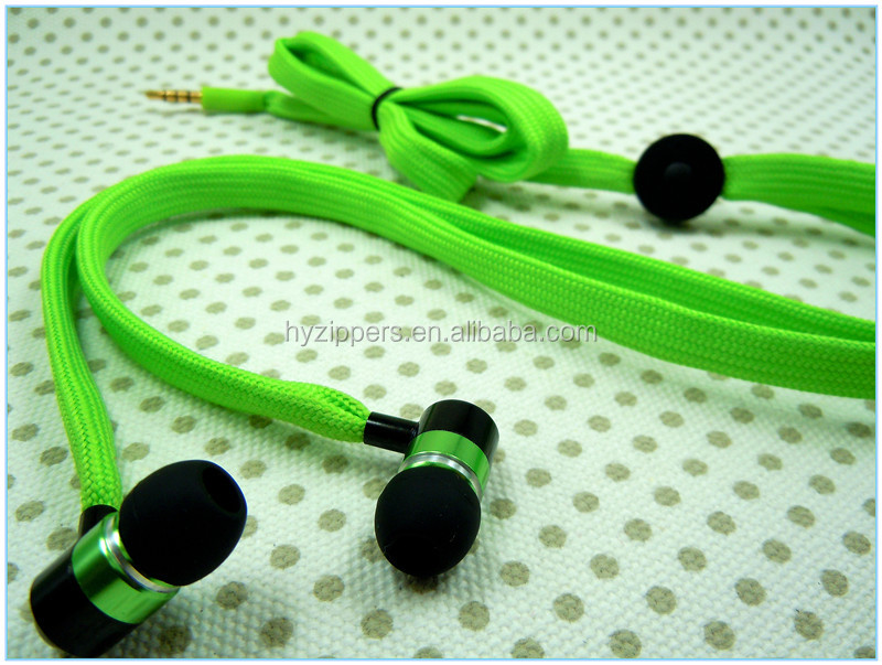 promotional gift rope cable earphones shoe lace earphone