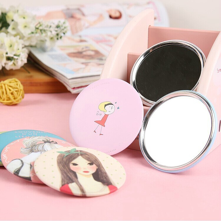 Factory wholesale girls decorative mirror compact pocket makeup mirror